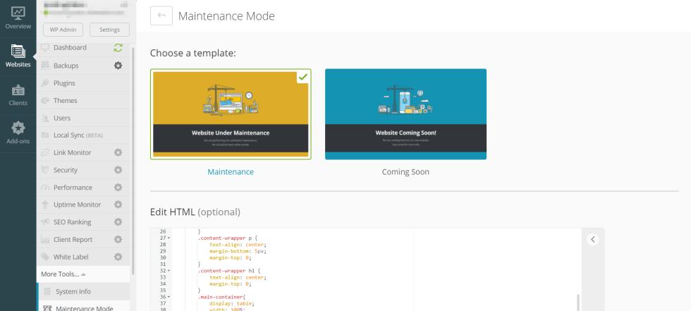 L'écran du mode de maintenance pour ManageWP, un outil utile pour vous aider à changer votre thème WordPress en toute sécurité.
