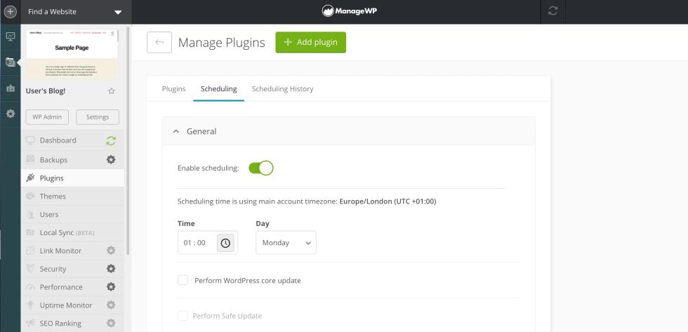 Surveillance des vulnérabilités de sécurité avec ManageWP.