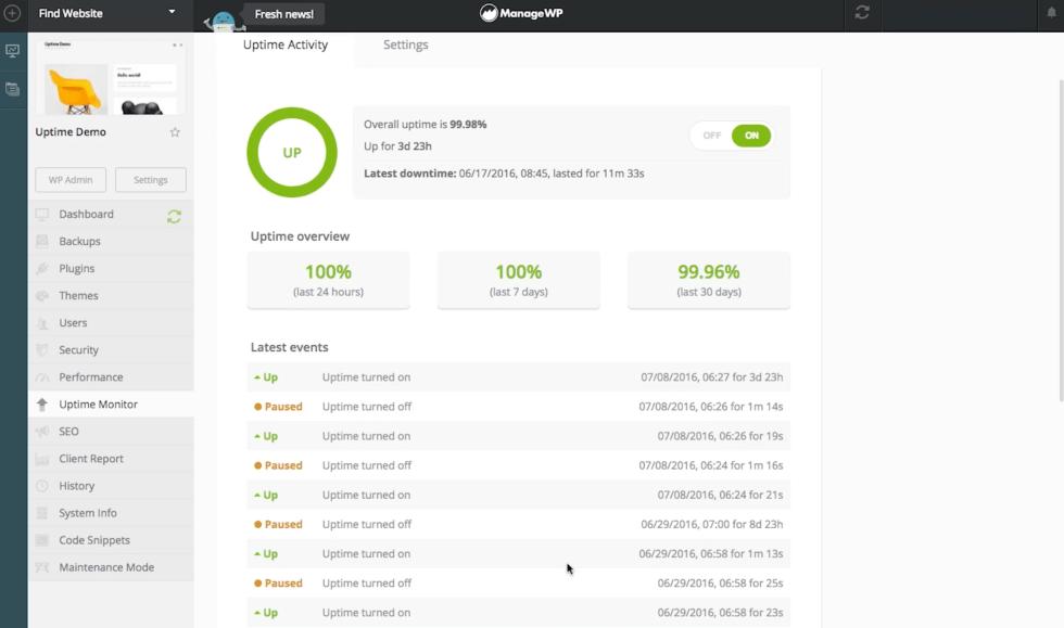 Moniteur de disponibilité de ManageWP.
