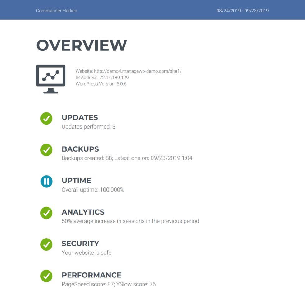 Un rapport d'intégration client créé à l'aide de ManageWP.