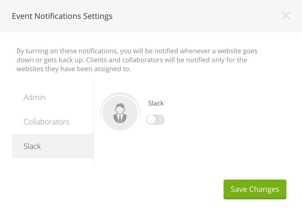 Activation des notifications Slack dans ManageWP.