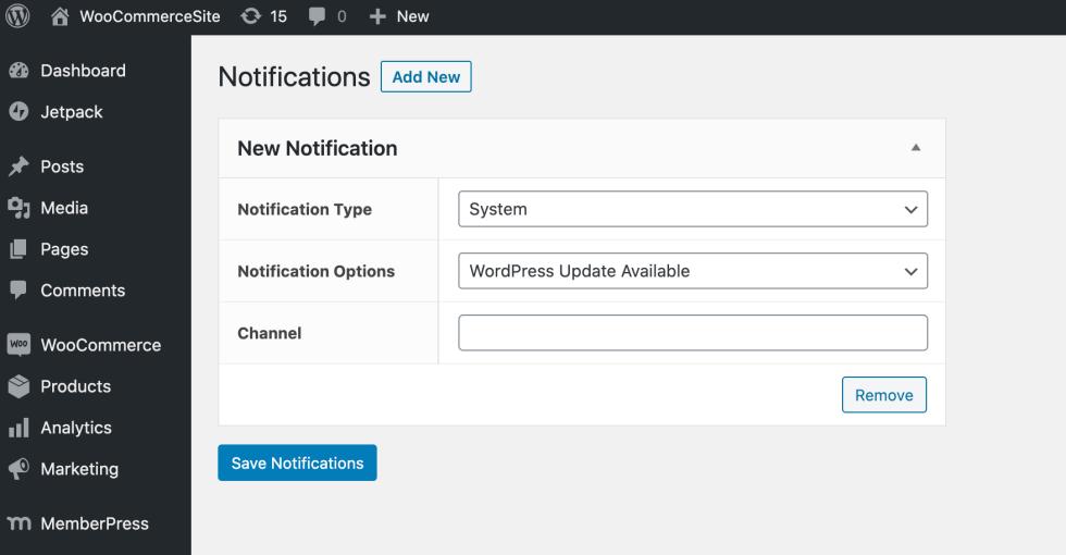 Le tableau de bord des notifications Slack.