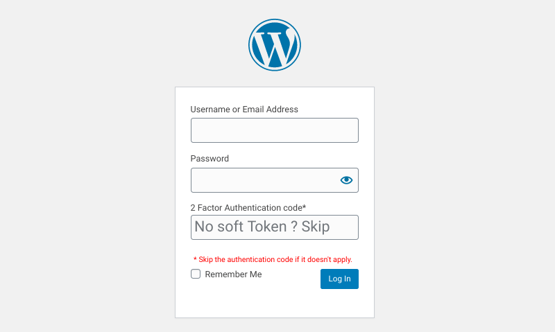 La page de connexion WordPress avec 2FA.