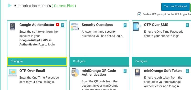 L'option pour configurer Google Authenticator dans WordPress.