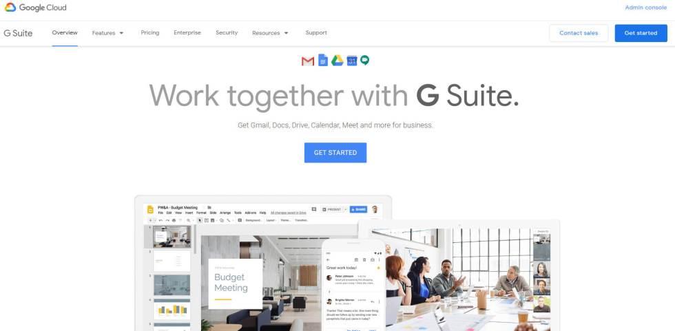 La page d'accueil de Google G Suite.
