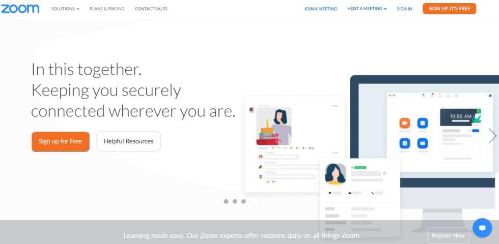 La page d'accueil de Zoom.