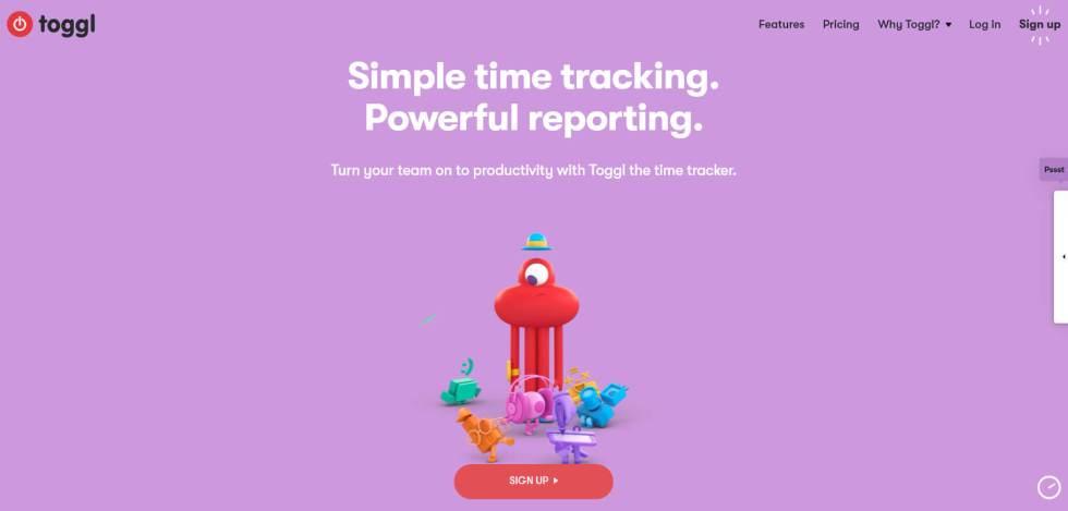 La page d'accueil Toggl.