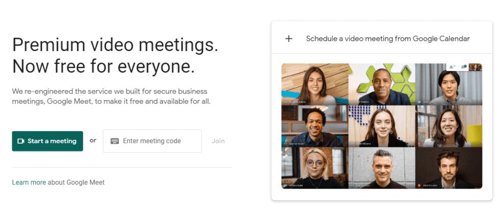La page d'accueil de Google Meet.
