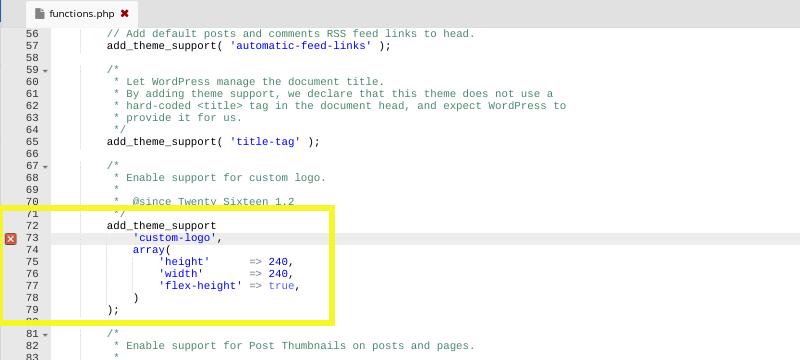 Fichier Functions.php avec une erreur de syntaxe.