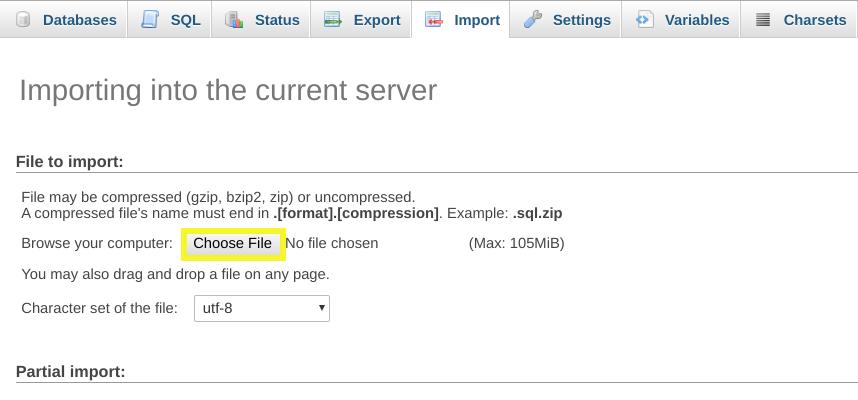 Sélection de la base de données de sauvegarde à importer dans phpMyAdmin.