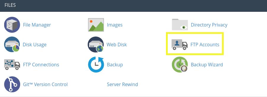 L'icône Comptes FTP dans cPanel.