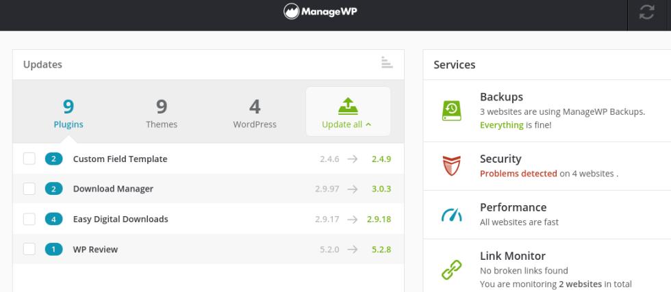 Le tableau de bord ManageWP.