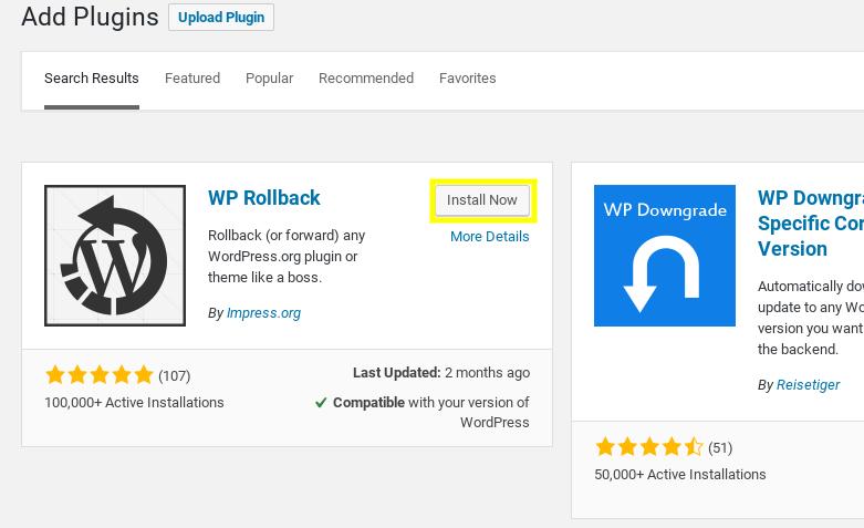 Téléchargement du plugin WP Rollback.