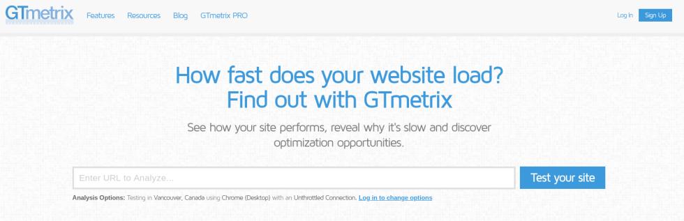 L'outil de performance du site GTmetrix.