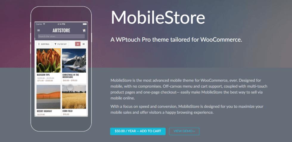 Un magasin mobile dans le thème WPtouch.