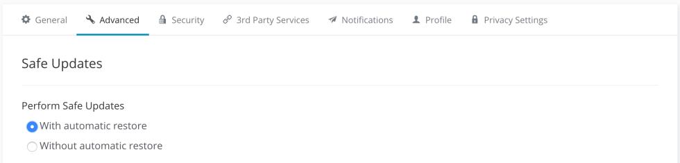 Les paramètres globaux des mises à jour sécurisées.