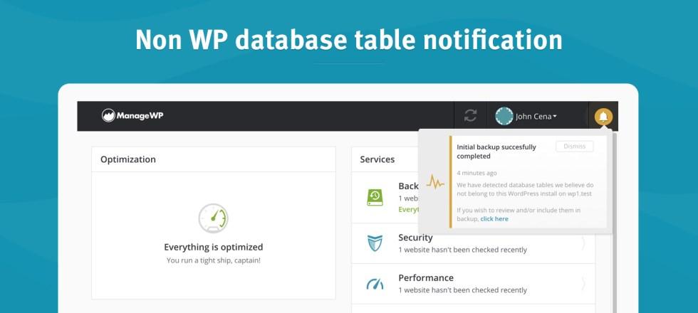 Notification de table de base de données non wp
