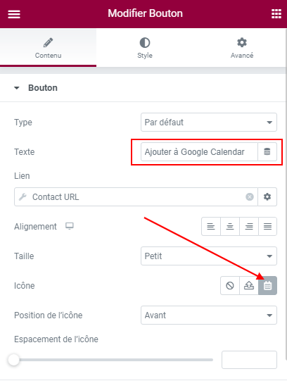 ajouter un bouton Google Calendar dans Elementor