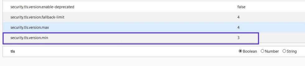 Localisation de la préférence security.tls.version.min dans le navigateur Firefox.