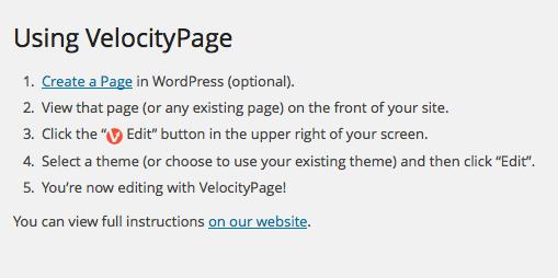 Paramètres de VelocityPage