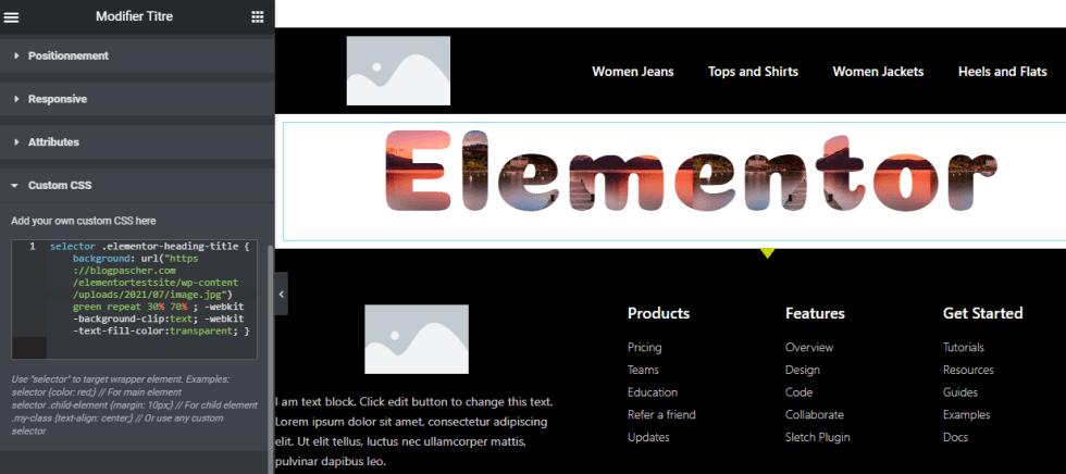 Comment ajouter une image dans un texte dans Elementor