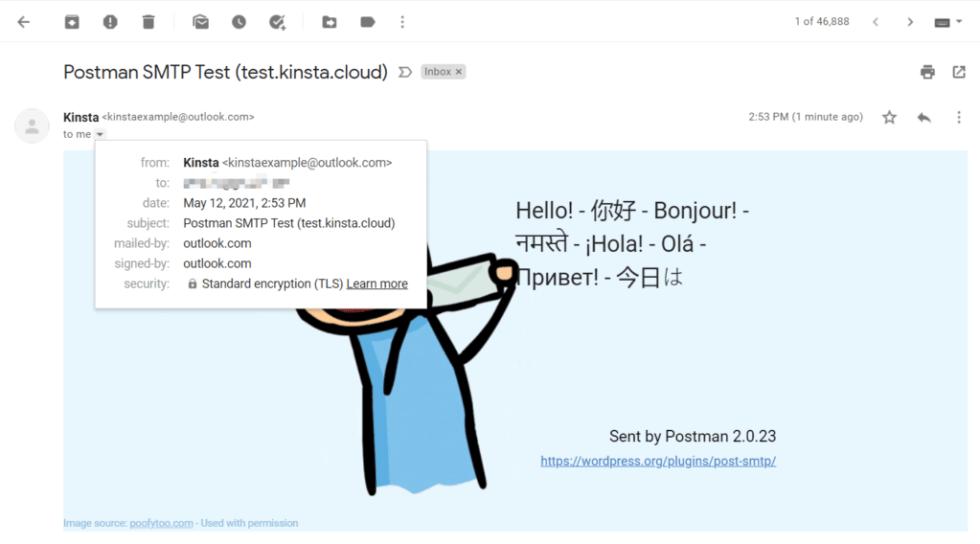Un exemple d'e-mail de test envoyé par Post SMTP