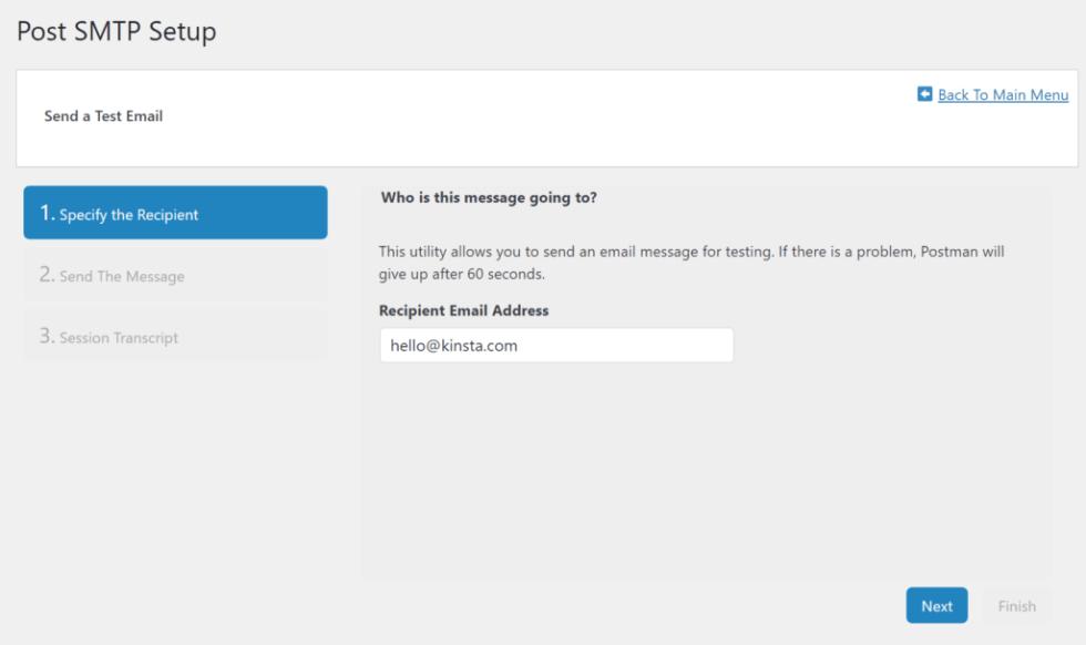 Entrez votre propre e-mail dans la zone Adresse e-mail du destinataire