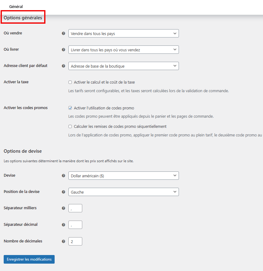 configurer les options d'expédition WooCommerce