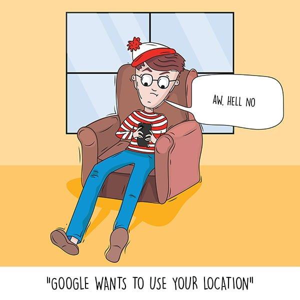 Waldo sur un smartphone avec Google voulant utiliser sa position.