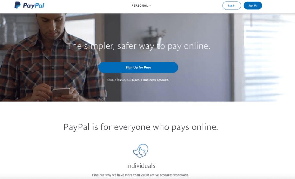 Une capture d'écran de la page d'accueil de PayPal