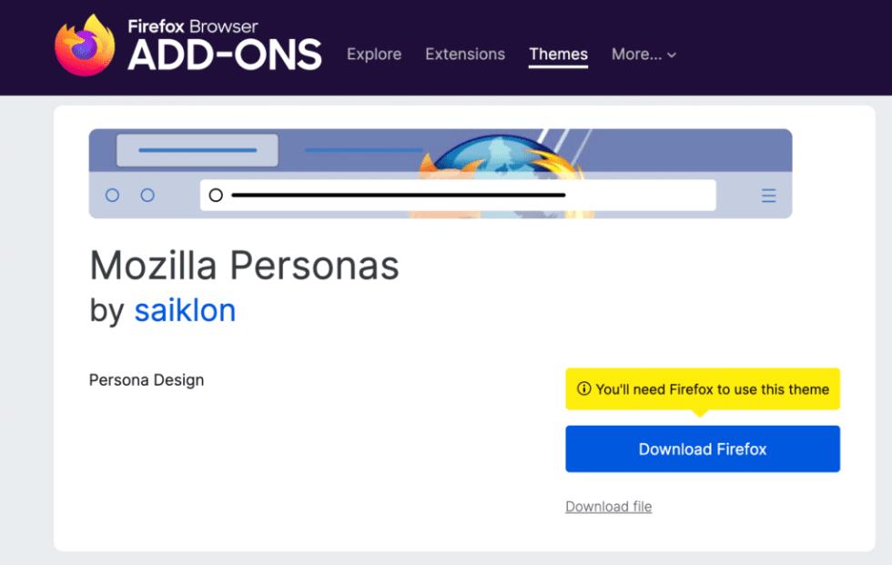 Une capture d'écran de la page d'accueil de Mozilla Personas