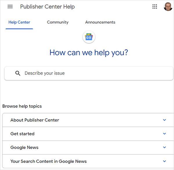Section d'aide du Centre des éditeurs Google