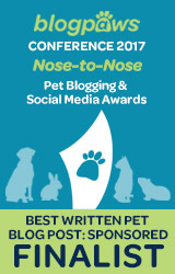 2017 BlogPaws Nose-to-Nose - BEST WRITTEN PET BLOG POST (SPONSORED) FINALIST badge