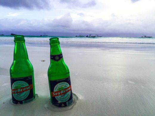 Seychelles beach beer