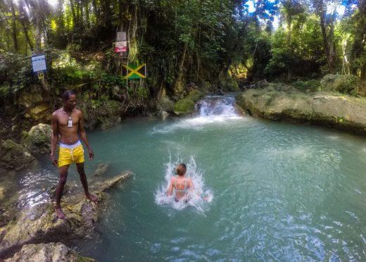 Ocho Rios Jamaica jumping in the blue hole