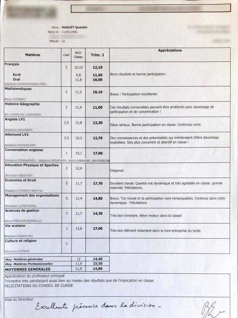 bulletin de notes