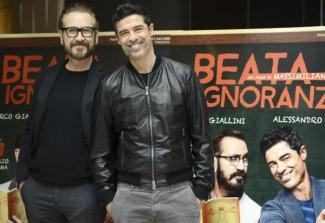 Italian actors/cast members Marco Giallini (L) and Alessandro Gassmann (R), pose for photographs during the photo call for the movie 'Beata Ignoranza', in Rome, Italy, 20 February 2017. The movie will be released in Italian theaters on 23 February. ANSA/CLAUDIO ONORATI