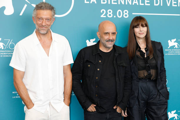Vincent Cassel, Gaspard Noe, Monica Bellucci at the photo call for 'Irreversible' during the 76st Venice Film Festival at the Sala Grande on August 31, 2019 in Venice, Italy. (Photo by: P. Lehman) (Photo credit should read P. Lehman / Barcroft Media via Getty Images)