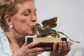 VENICE, ITALY - SEPTEMBER 02: Julie Andrews is awarded the Golden Lion for Lifetime Achievement during the 76th Venice Film Festival at Sala Grande on September 02, 2019 in Venice, Italy. (Photo by Daniele Venturelli/Venturelli Daniele/WireImage, )