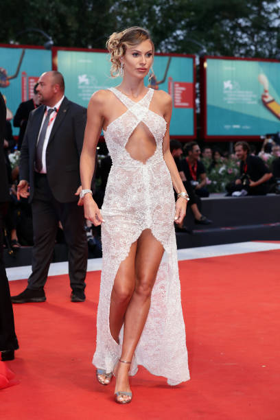 """VENICE, ITALY - SEPTEMBER 02: Taylor Mega walks the red carpet ahead of the """"Martin Eden"""" screening during the 76th Venice Film Festival at Sala Grande on September 02, 2019 in Venice, Italy. (Photo by Vittorio Zunino Celotto/Getty Images)"""