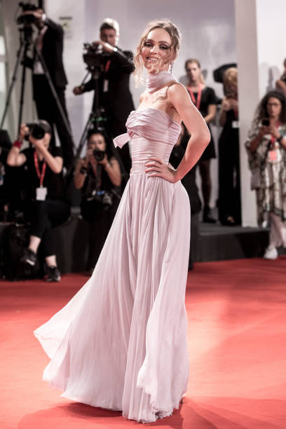 """VENICE, ITALY - SEPTEMBER 02: Lily-Rose Depp attends """"The King"""" red carpet during the 76th Venice Film Festival at Sala Grande on September 02, 2019 in Venice, Italy. (Photo by Alessandra Benedetti - Corbis/Corbis via Getty Images)"""