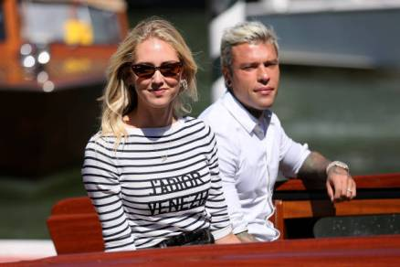 VENICE, ITALY - SEPTEMBER 03: Chiara Ferragni and Fedez are seen arriving at the 76th Venice Film Festival on September 03, 2019 in Venice, Italy. (Photo by Ernesto Ruscio/GC Images,)