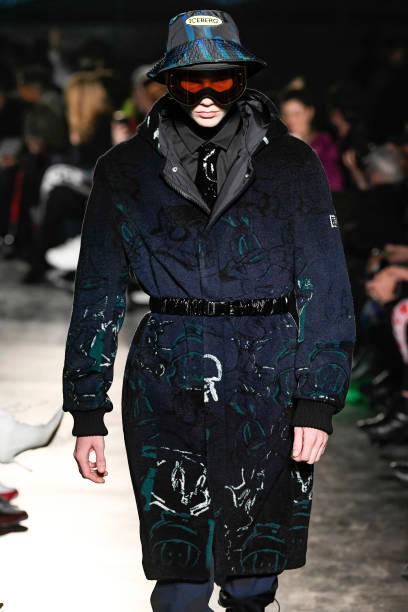 MILAN, ITALY - JANUARY 12: A model walks the runway at the Iceberg Fall/Winter 2020/2012 fashion show during Milan Men's Fashion Week on January 12, 2020 in Milan, Italy. (Photo by Victor VIRGILE/Gamma-Rapho via Getty Images)