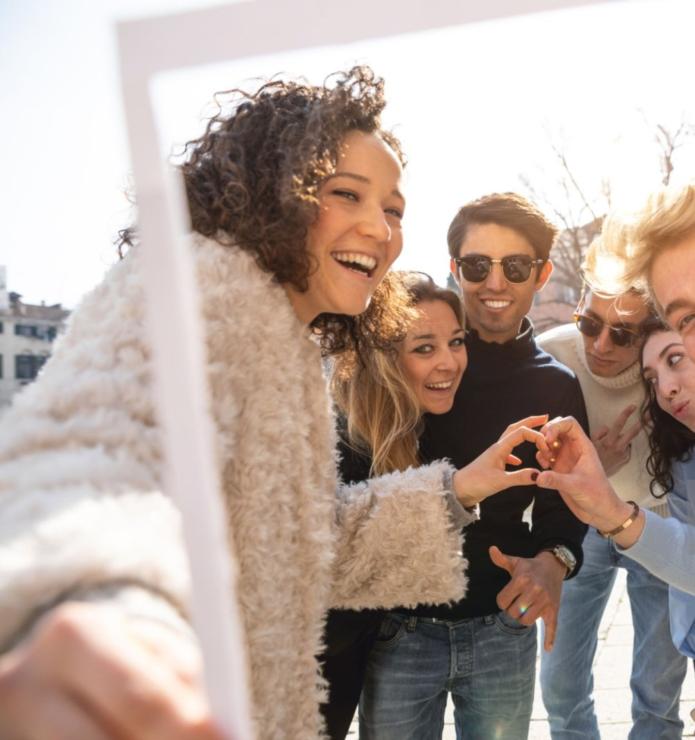 Group of happy Italian millennials students in Venice - Italy