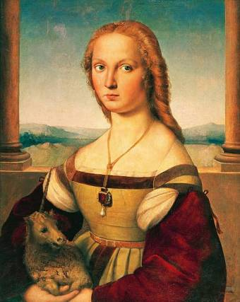 ITALY - CIRCA 2002: Rome, Galleria Borghese (Archaeological And Art Museum) Portrait of a Young Woman with Unicorn, by Raphael Sanzio (1483-1520). (Photo by DeAgostini/Getty Images)