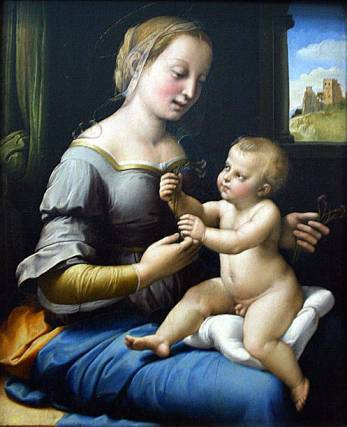 """This picture taken 24 July 2003 shows Raphael's""""Madonna of the Pinks"""" on display in the National Gallery in London. The painting, which has long been written off as a copy valued at �6000, (8,424 Euro) is now valued at �35 million (49,14 million Euro). AFP PHOTO /Jim WATSON (Photo credit should read JIM WATSON/AFP via Getty Images)"""