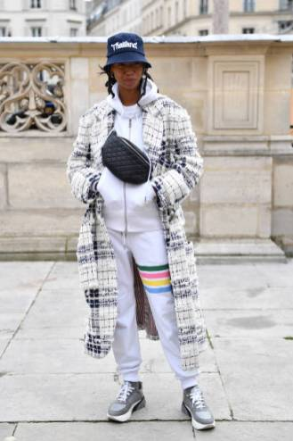 PARIS, FRANCE - JANUARY 19: Model is seen arriving at Thom Browne during Paris Fashion Week on January 19, 2019 in Paris, France. (Photo by Jacopo Raule/Getty Images)