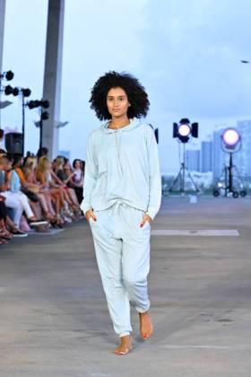 MIAMI BEACH, FLORIDA - JULY 13: A model walks the runway for Acacia Resort 2020 Runway Show at Paraiso Miami Beach on July 13, 2019 in Miami Beach, Florida. (Photo by Fabiano Silva/Getty Images for Acacia)