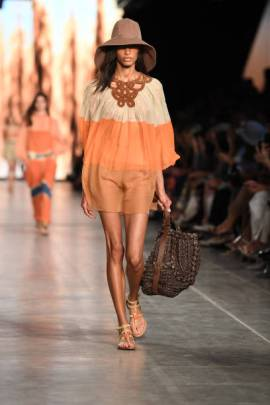 MILAN, ITALY - SEPTEMBER 18: A model walks the runway at the Alberta Ferretti show during the Milan Fashion Week Spring/Summer 2020 on September 18, 2019 in Milan, Italy. (Photo by Daniele Venturelli/Daniele Venturelli/WireImage )