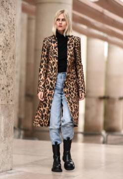 PARIS, FRANCE - SEPTEMBER 26: Linda Tol is seen wearing an animal print coat, black sweater, blue jeans and black leather boots outside the Paco Rabanne show during Paris Fashion Week SS20 on September 26, 2019 in Paris, France. (Photo by Daniel Zuchnik/Getty Images)